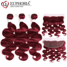 Body Wave Lace Frontal With Human Hair 3 Bundles EUPHORIA 99J/Burgundy Red Color Brazilian Remy Bundle Closure 13x4