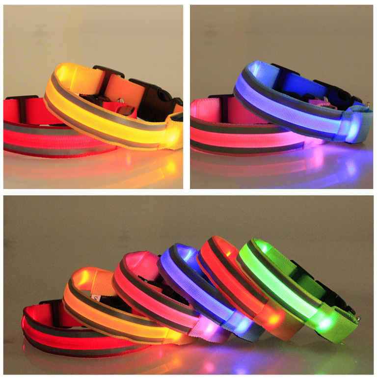 Pet Traction Supplies Small Dogs Large Dog Teddy Dog Neck Ring Puppy LED Shining Night Light Dog Neck Ring