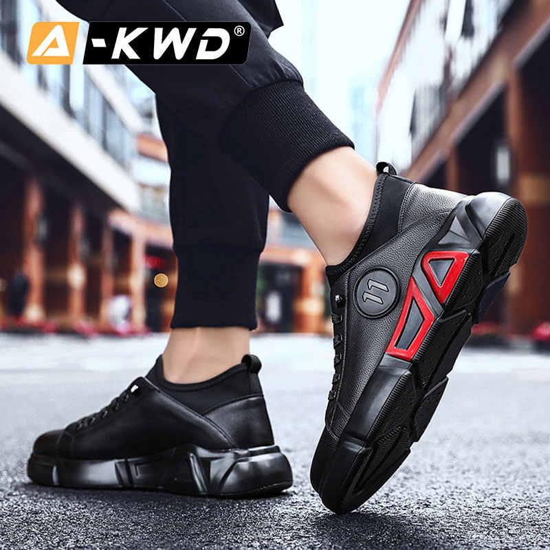 אופנה שחור מעצב מאמני מזדמן לנשימה גבר נעלי יוקרה סתיו עור מפוצל סניקרס גברים פשוט Chaussures ספורט Homens