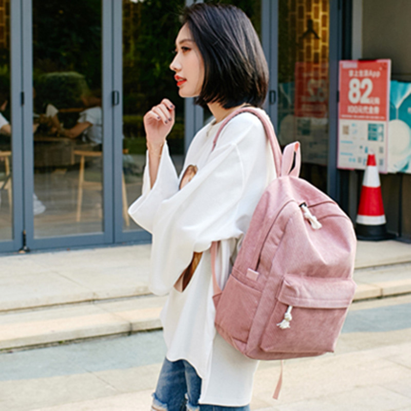 PACGOTH Fashion Large Capacity Travel Tote Casual Backpack Solid Corduroy Backpack Women School Bags Teenage Girls Laptop Bags