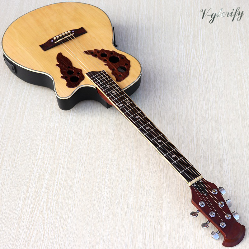 Stock Natural Color 38 Inch Round Back Electric Acoustic Guitar 6 String High Gloss Folk Guitar With EQ Tuner Function