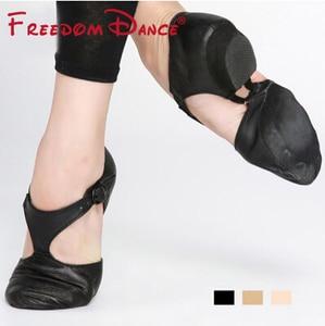 Image 2 - Zapato de Ballet elástico de cuero genuino para mujer, zapatos de baile de Jazz, sandalias de baile para profesores, calzado de punta