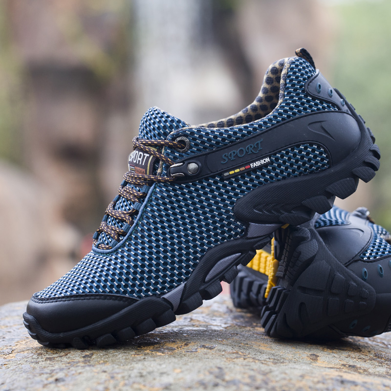 Mens Mountain Hiking Shoes Waterproof Outdoor Cow Leather Breathable Trekking Sneakers Nonslip Wearable Climbing Sport Shoes Men