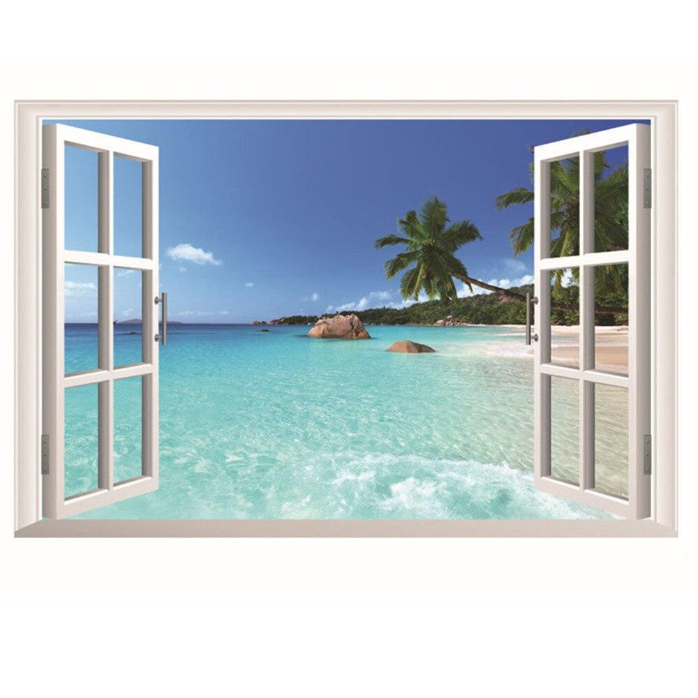 Été plage cocotier 3D fenêtre vue autocollant plage peintures murales Art amovible mur autocollant salon décoration