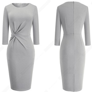 Image 5 - Elegant Work Business Sheath Pencil Office Lady Fancy Autumn Bodycon Formal Career Dress HB476