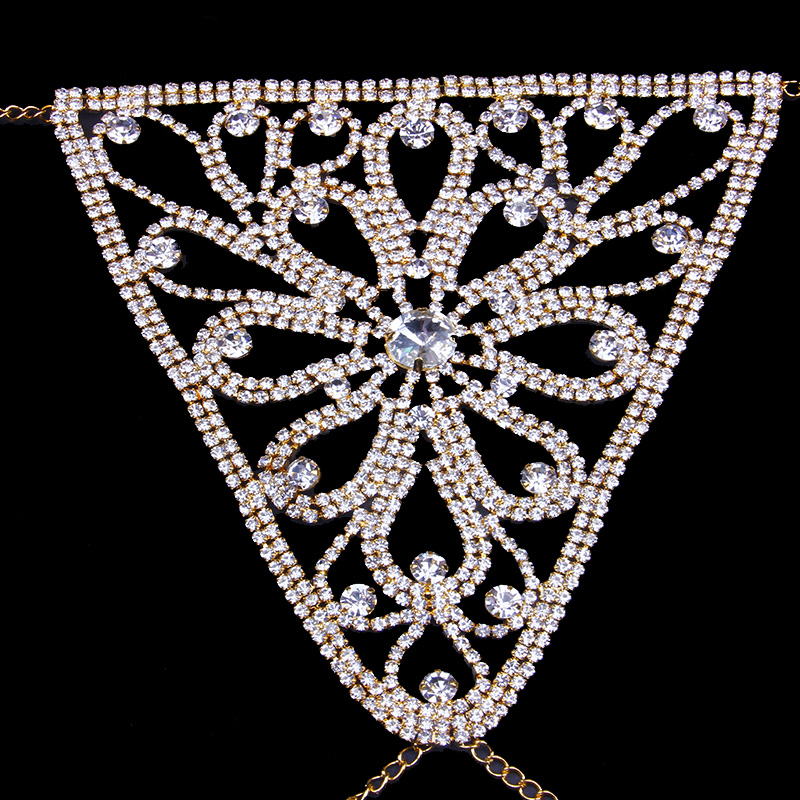 StoneFans Crystal Body Jewelry Waist Chain for Women Sexy Rhinestone Lingerie Flower Panties Thong Belly Chain Christmas Gift 2