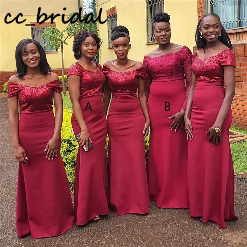 Long Mermaid African Bridesmaid Dresses New Sexy Off Shoulder Wedding Guest Dress For Women Formal robe demoiselle d honneur