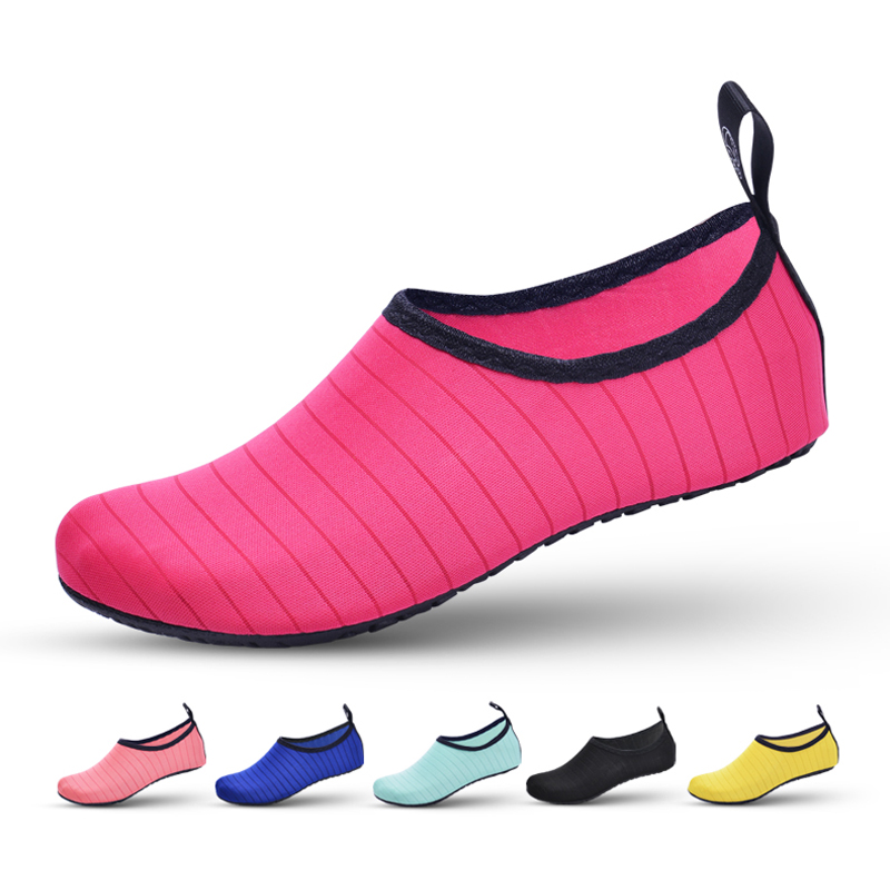 Water Shoes For Women Big Plus Size Aqua Beach Shoes Woman Striped Colorful Sea Swimming Shoes Zapatos De Mujer