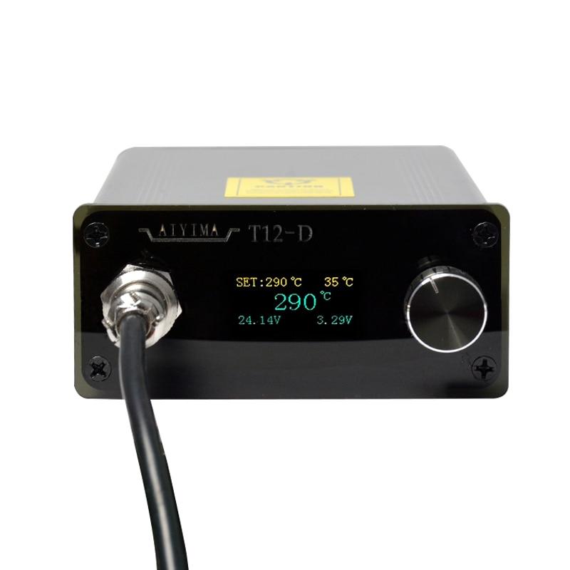 AC 110V 220V OLED T12 Estación de soldadura digital Controlador de temperatura 72W Con enchufe de la UE + Mango T12 + Punta T12-K Nuevo