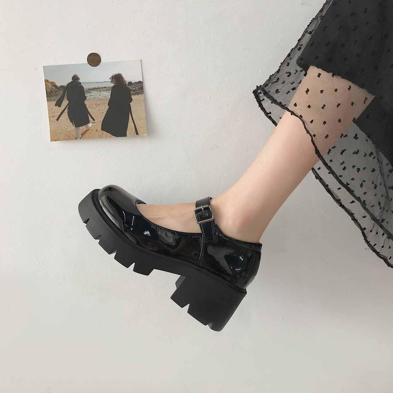 2020 Giày Cao Gót Giày Nữ Bơm Giày Đế Xuồng Thời Trang Mary Jane Giày Lolita Giày Da Phụ Nữ Mũi Tròn StudentMujer