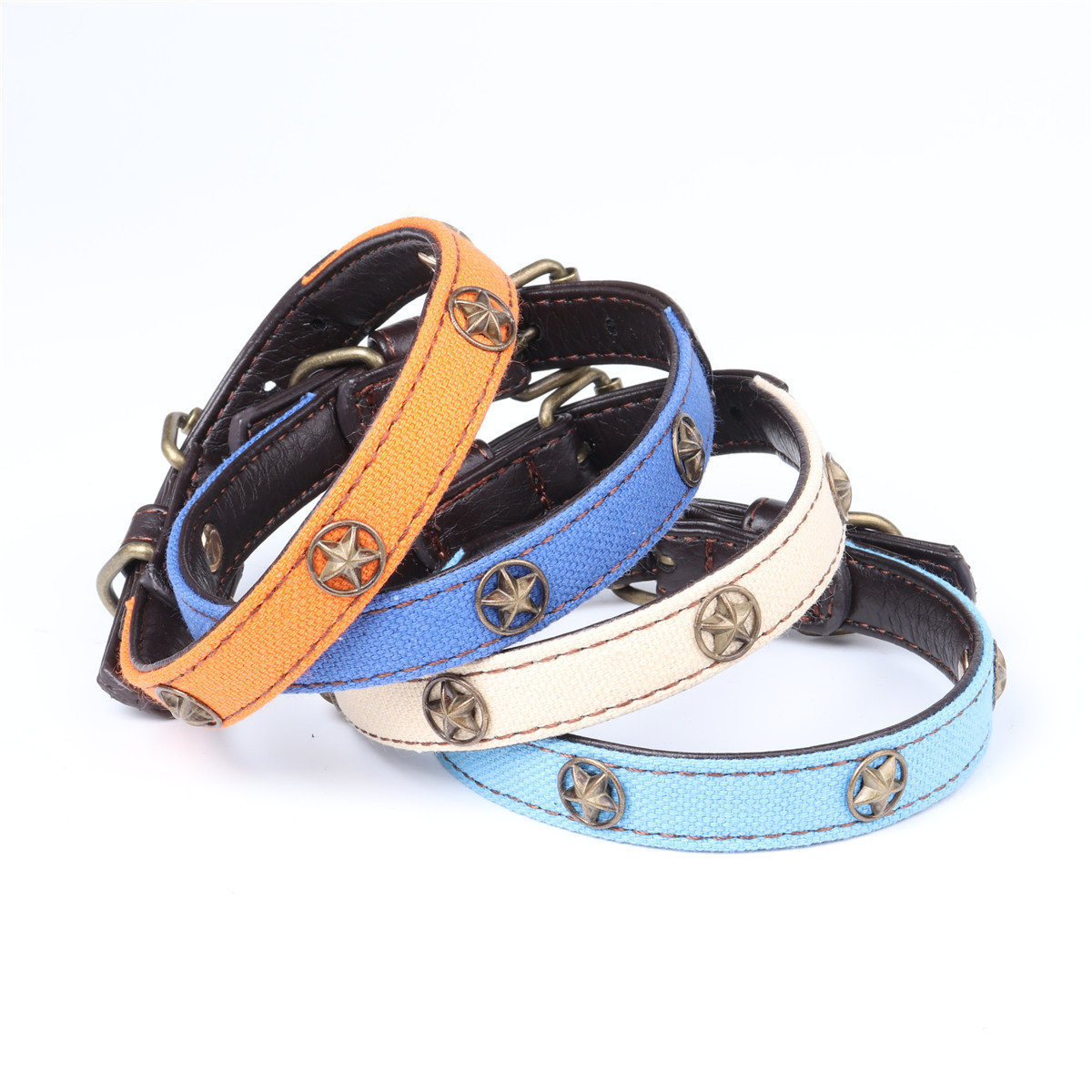 Amin Lattice New Style Origional Currently Available Five-Star Canvas Pet Collar Pu Neck Ring Dog Collar Manufacturers Direct Se