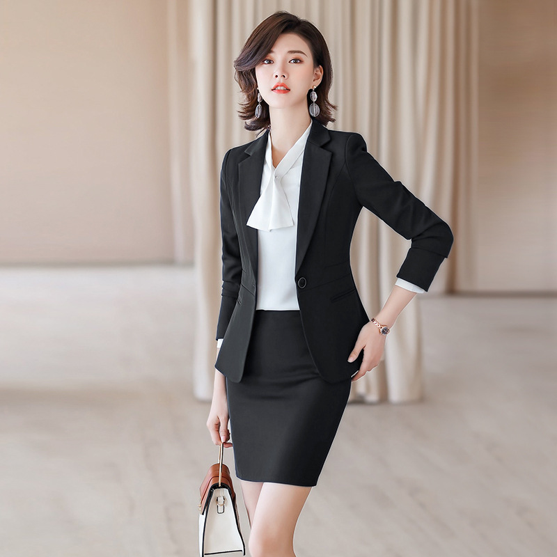 Professional Women's Skirt Suit High Quality 2020 Spring And Autumn New Suit Jacket Casual Skirt Two Piece Set Workwear Feminine