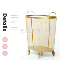 New Modern Golden Fashion Metal Gold Color Dirty Clothes Storage Handle Laundry Basket Home Creative Organizer With Wheel
