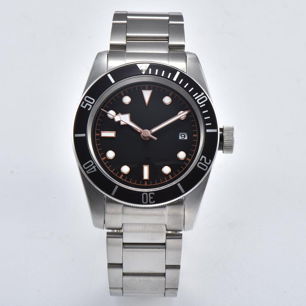 Automati Wristwatch 41mm Mineral Glass Stainless Steel Case Rotating Bezel Black Sterile Dial BAY-03