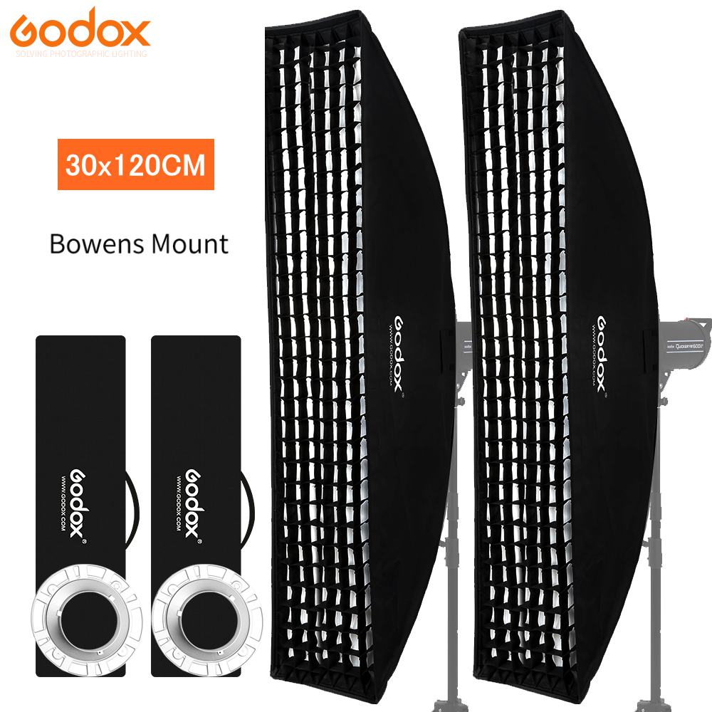 2PCS Godox 12x 47 30x120cm Honeycomb Grid Softbox for Photo Strobe Studio Flash Bowens Mount Photography Accessories