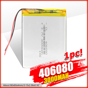 1/2/4Pcs 3.7V 3000mAh Lithium Polymer li-polymer Li Po Rechargeable Battery 406080 For Tablet GPS Power Bank High Quality