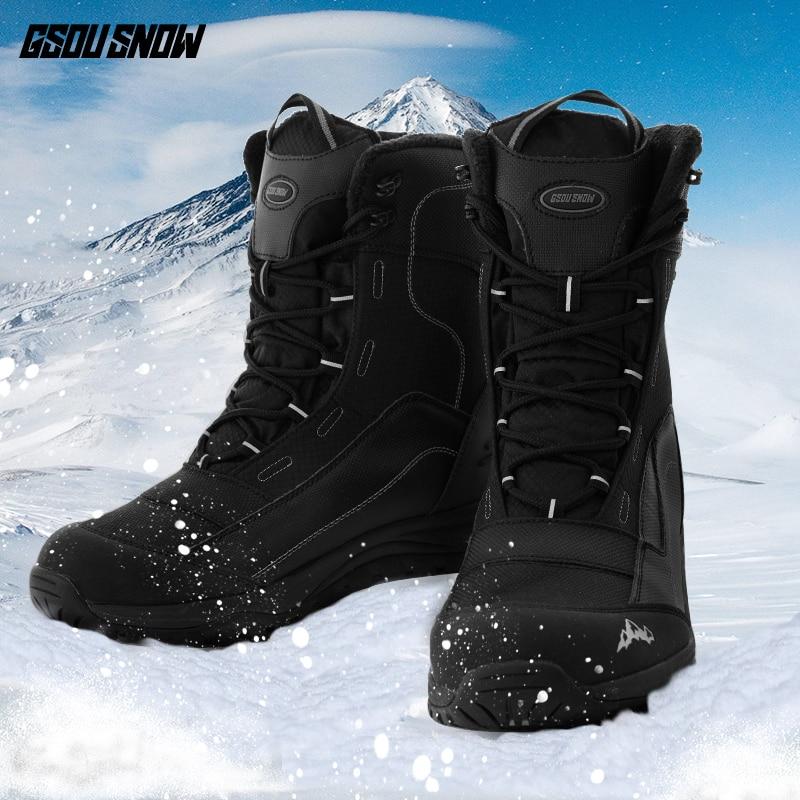 Winter New Ski Boots Men Waterproof Shock Fleece Lining Warm Snowboard Boots Waterproof Non-slip Middle Tube Ski Shoes