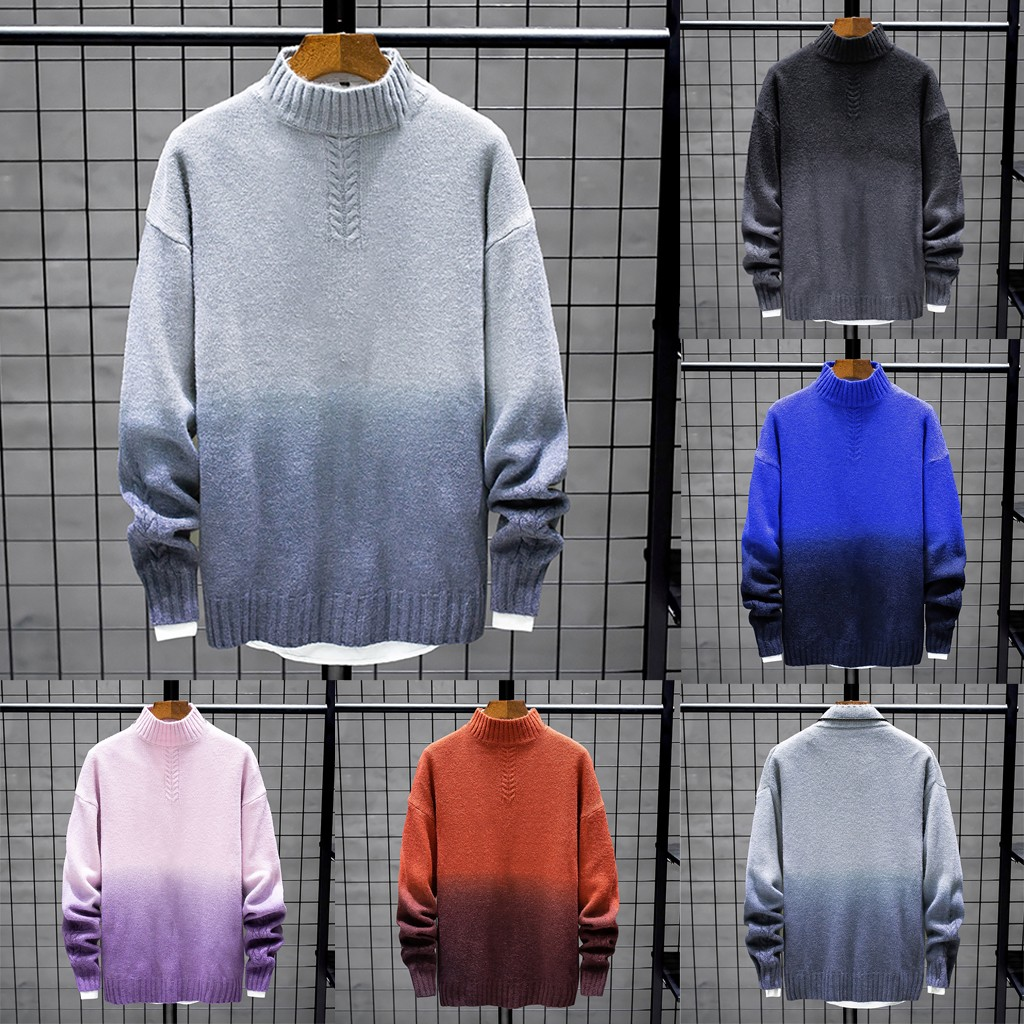 2019 New Style Fashion Men Autumn Winter Color Collision Turtleneck Long Sleeve Knitted Sweater Tops M1010