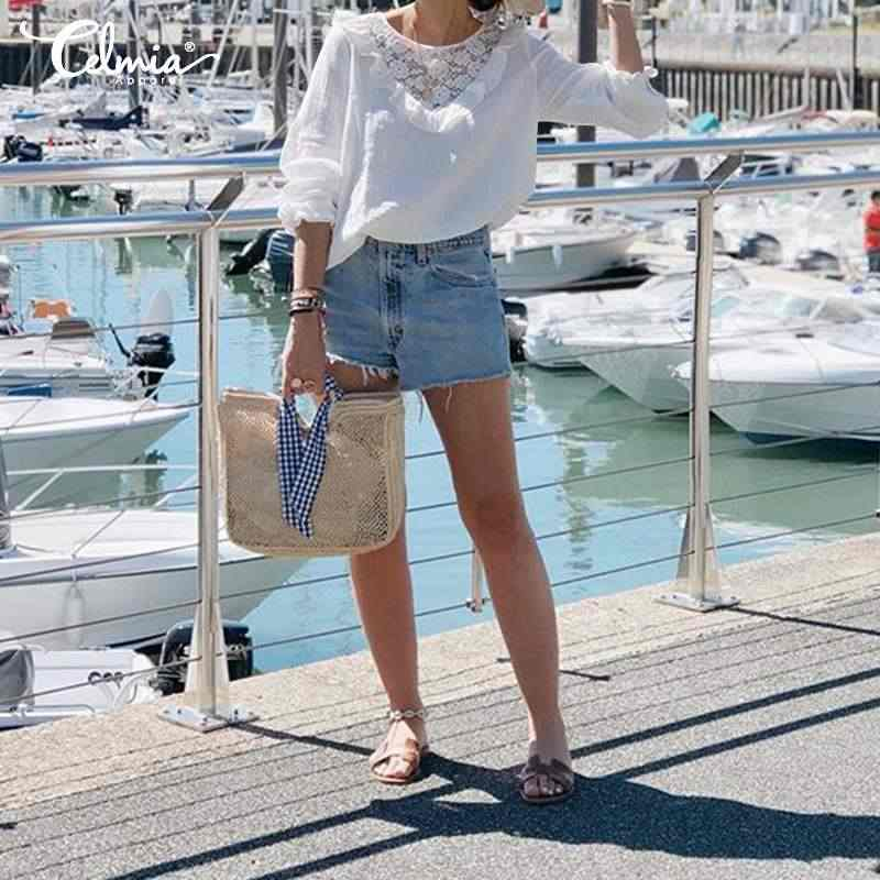 Женские блузки cellia 2019 осенние белые кружевные рубашки с вышивкой повседневные свободные блузы с оборками Femininas хлопковые рубашки S-5XL