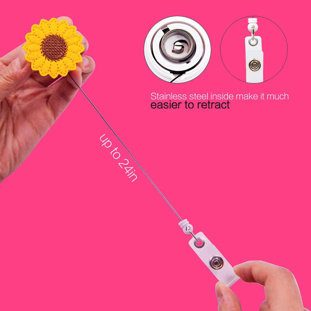 2019 neue Design 1 Stück Versenkbare Krankenschwester Abzeichen Reel Clip Cartoon Sonnenblumen Obst Studenten IC ID Karte Abzeichen Halter #25