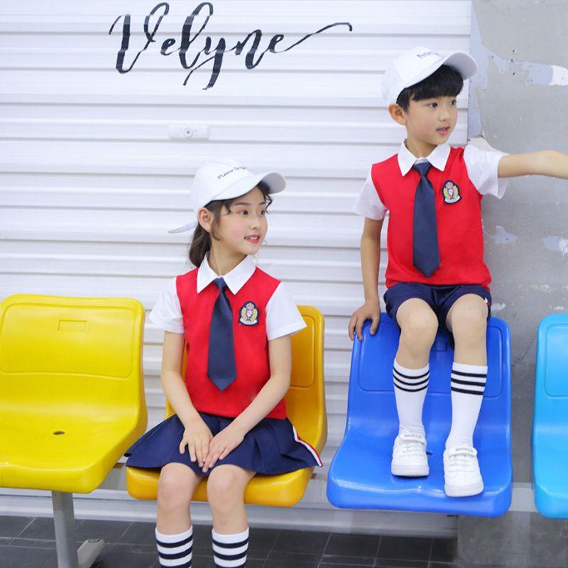 New Style Kindergarten Suit Summer Red Short-sleeved Set Primary School STUDENT'S School Uniform Children College Business Attir