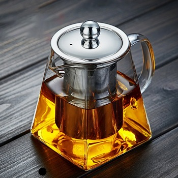 Borosilicate Glass Teapot Heat Resistant Square With Tea Infuser Filter Milk Oolong Flower
