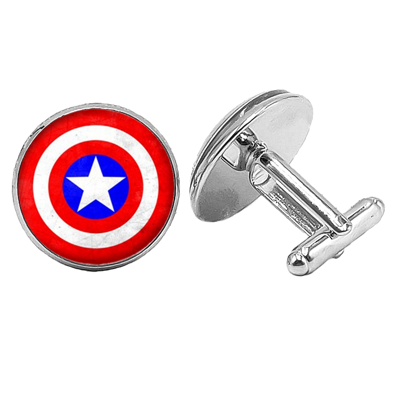 HOT! 2019 New Hot American Movie Peripheral Shield Pattern Series Glass Convex Cufflinks Mens Jewelry Gifts