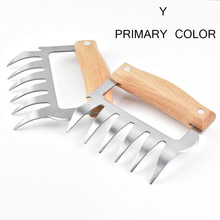 Bbq-Tool Pork-Clamp Wooden-Handle Bear Claw Meat-Shred Stainless-Steel Divided Multifunction