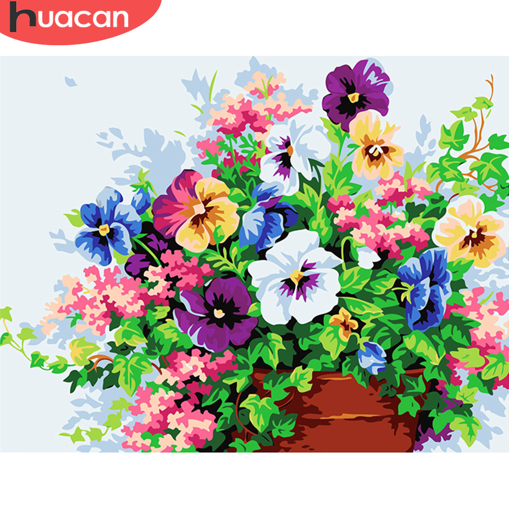 HUACAN Oil Painting By Numbers Flowers Pictures Canvas Painting For Living Room Wall Art Home Decoration No Framed