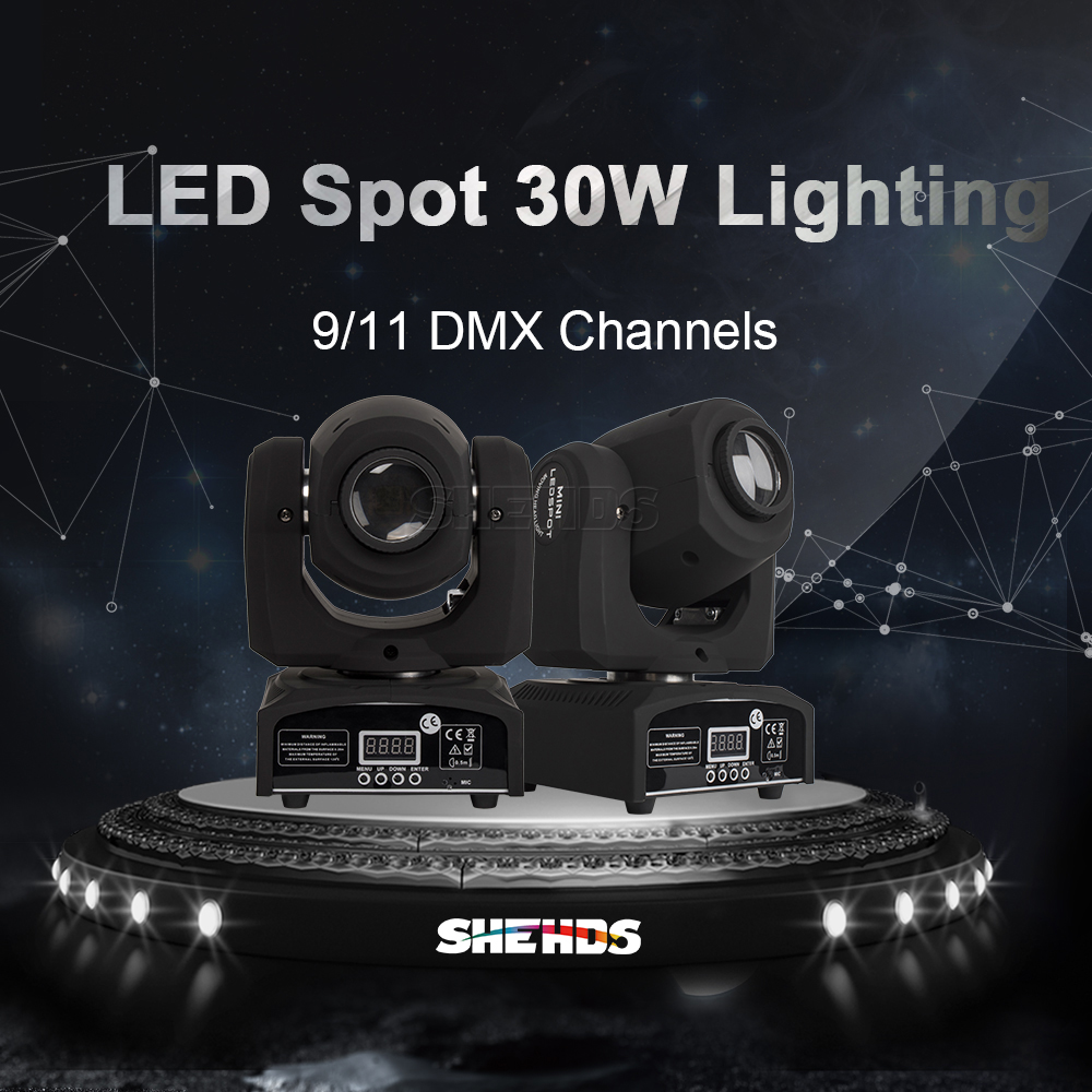 SHEHDS LED 30W Gobo Spot Moving Head Light DMX 512 Stage Light Dj Disco Party Effect Lighting