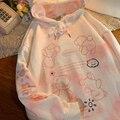 «Вареный» худи для женщин толстые теплые из искусственного меха 2020 осень-зима милый розовый Свободный свитшот с капюшоном Тканевая обувь в ...