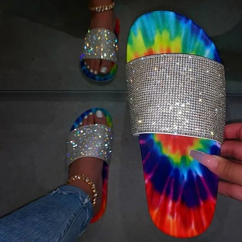2020 Summer Rhinestone Multicolor Slippers New Women Flop Fashion Wild Beach Shoes Flat Outdoor Wild Casual Simple Slippers image