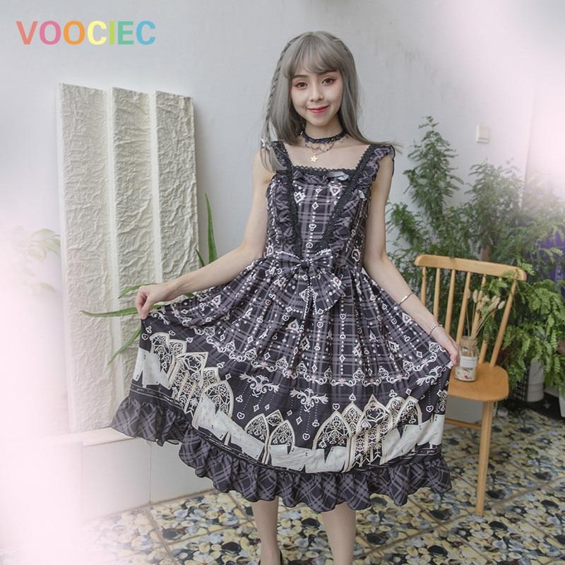 VOOCIEC Kawaii Lolita dress Blue black soft sister vestido lolita print suspender skirt dress new Japanese sweet princess dress