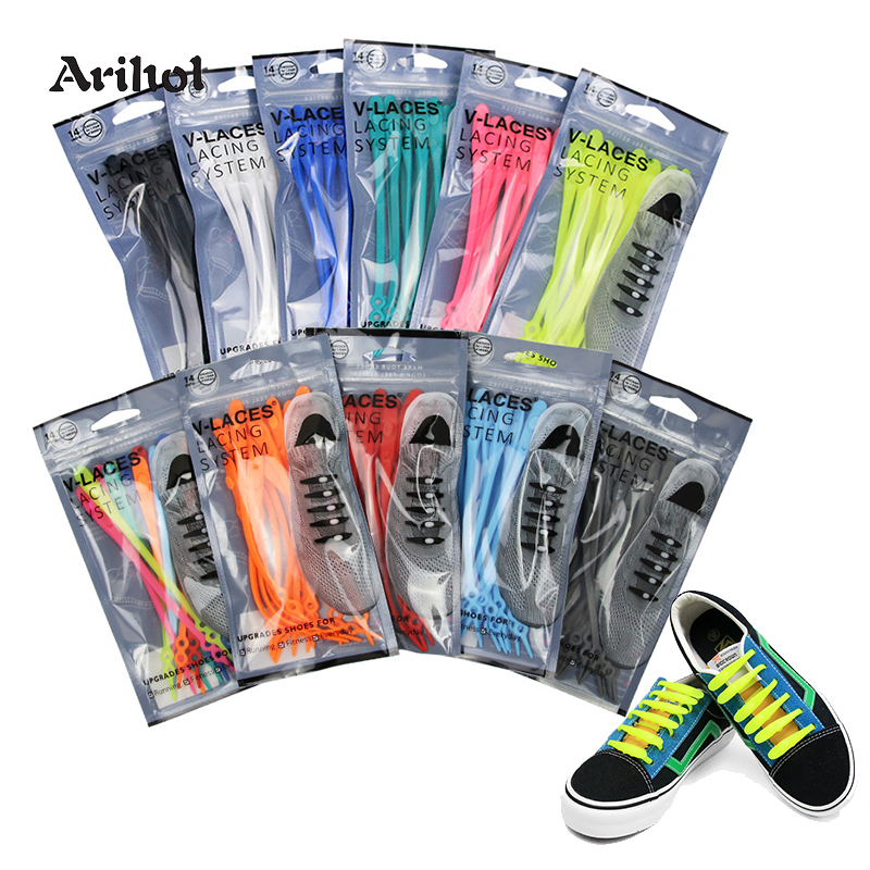 14pcs/pack No Tie Elastic Shoelaces Adult Children Laces For Shoes Lazy Shoelace 10 Colors Silicone Gel Tieless Shoelaces