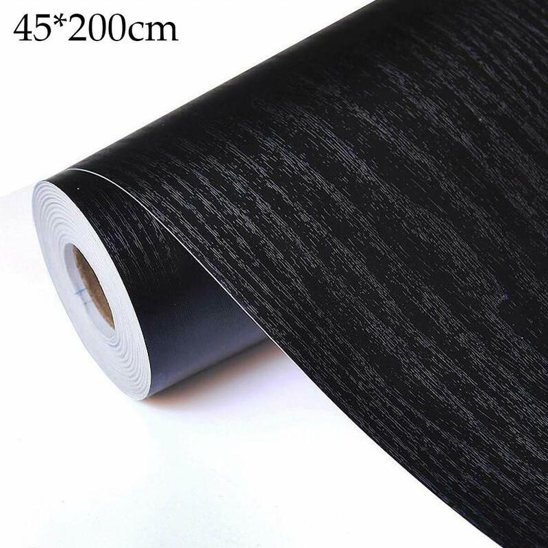 45 * 200cm Black Wood Grain Thickening Wallpaper Film Furniture Kitchen Vinyl Wallpaper Cupboard Kitchen Self Adhesive Pvc Stick