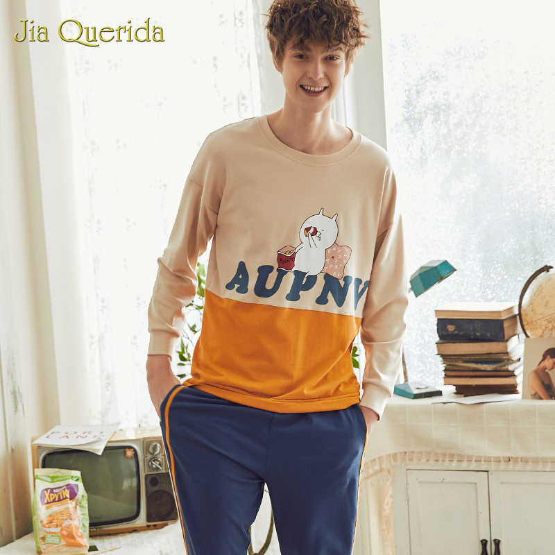 New Men Pajamas Man Sleepwear Men 100% Cotton Leisure Suits Pijama Set Pj Set Plus Size Cartoon Printing Homesuit Homeclothes