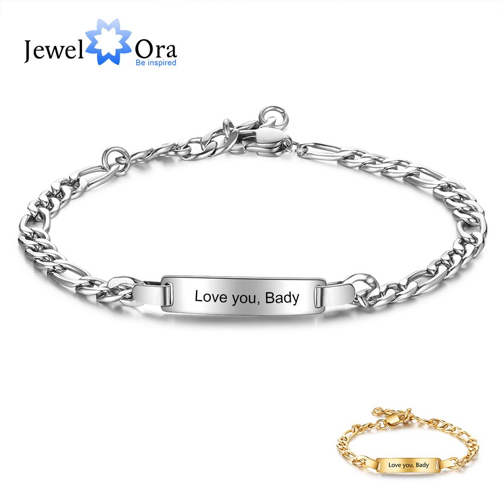 Personalized Engraving Name Bar Bracelets For Women Punk Style Stainless Steel Link Chain Bracelet Customized Gifts (BA102686)