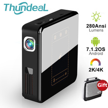 ThundeaL T20 DLP 프로젝터 안드로이드 7 미니 LED 와이파이 T5 프로젝터 블루투스 2K 4K 3D 휴대용 DLP 100 비머 배터리 홈 시어터