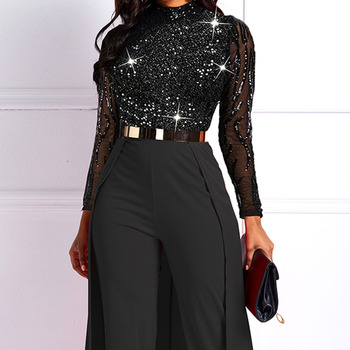 Black Long Sleeve Plus Size High Waist Straight Plain Jumpsuit Women Elegant Formal Party Slim Ladies Wide Leg Jumpsuits 2