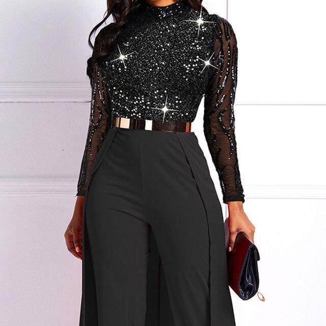 Black Long Sleeve Plus Size High Waist Straight Plain Jumpsuit Women Elegant Formal Party Slim Ladies Wide Leg Jumpsuits 2