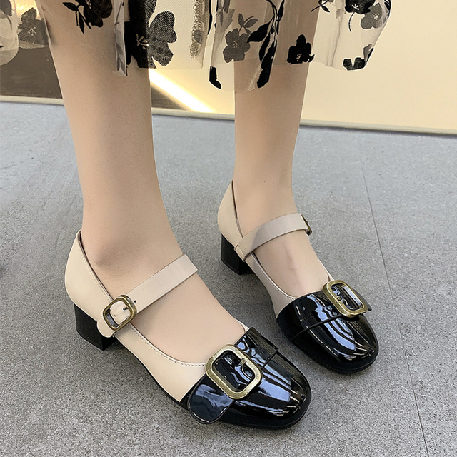 Vintage Femmes Mary Jane Escarpins Bowtie Oxford Bloc 2019 Talon Haut T-Strap Chaussures
