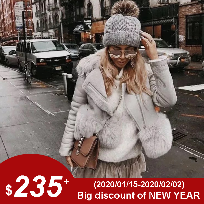 Maylofuer Genuine Sheepskin Leather Jacket Women Real And Natural Fox Fur Coat Slim Full Pelt Fur Coats For Winter