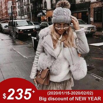 Maylofuer prawdziwa skóra owcza kurtka kobiety prawdziwe i naturalne futro z lisa płaszcz szczupła skóra futra na zimę