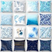 Modern Minimalist Blue White Geometric Marble Cushion Cover Throw Pillow Cover Decorative Sofa Pillow Case Pillowcase Home Decor brief marble geometric sofa decorative cushion pillow pillowcase polyester 45 45 throw pillow home decor cushion