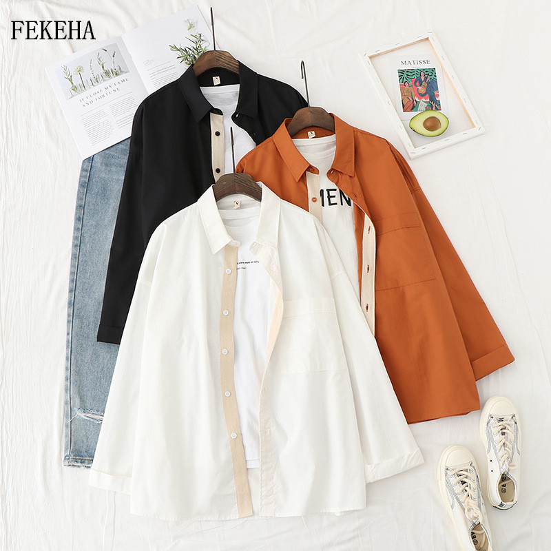 Cotton Shirts Womens Blouses And Tops Casual Long Sleeve Solid Loose Outwear Female Clothes Autumn 2020 News