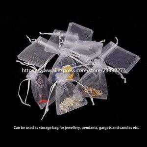 Image 3 - Sacs en Organza blancs, pochettes à cordon, pochettes à cordon, pochettes cadeaux pour bijoux et bonbons, cadeaux de fête, mariage, 5z, 50pcs