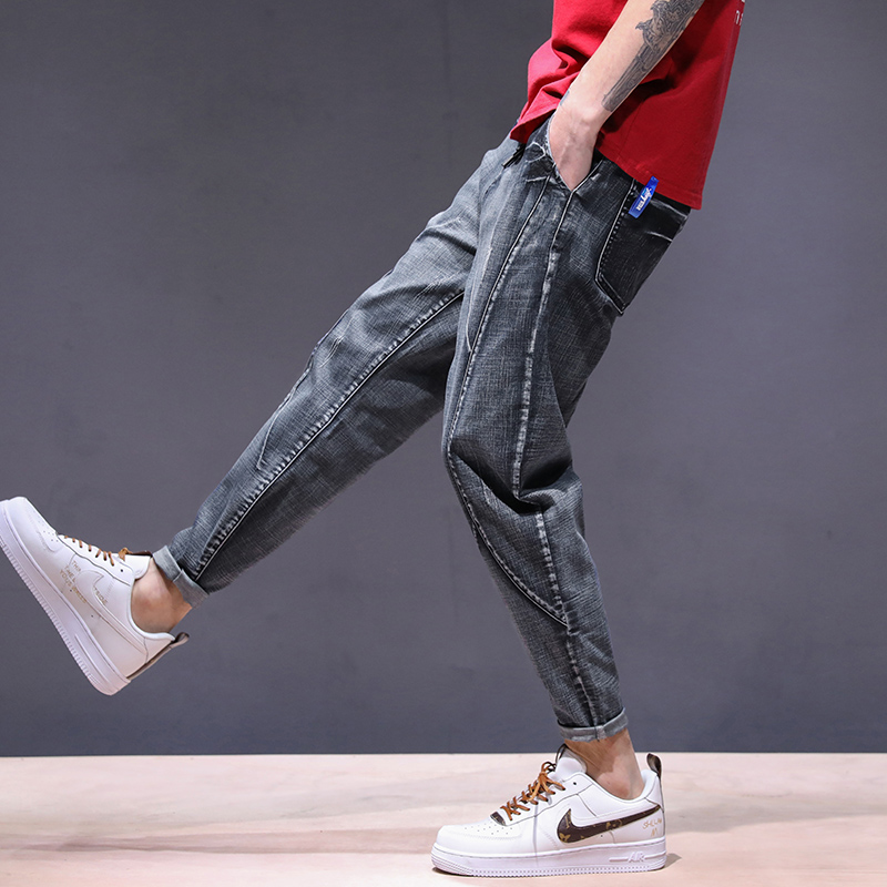 KSTUN haren jeans men motorcycle jeans streetwear drawstring elastic waist loose feet Pants outdoor leisure riding jeans joggers 14