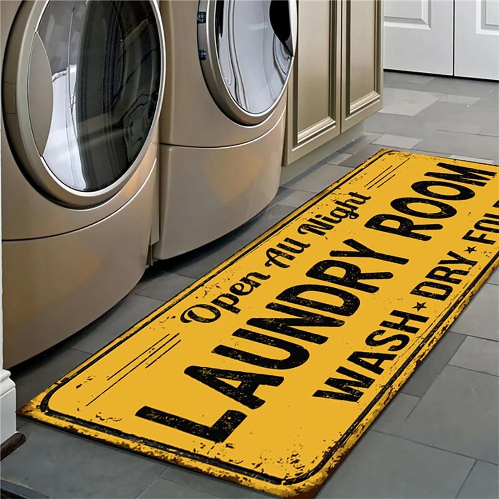 Non-Slip Floor Mat Laundry Room Mat Entrance Doormat Self-Service Laundry Bath