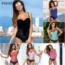 New Solid Patchwork Monokini Women One Piece Swimsuit Mesh Bathing Suit Underwire Padded Swimwear S-2XL Girl Bikini