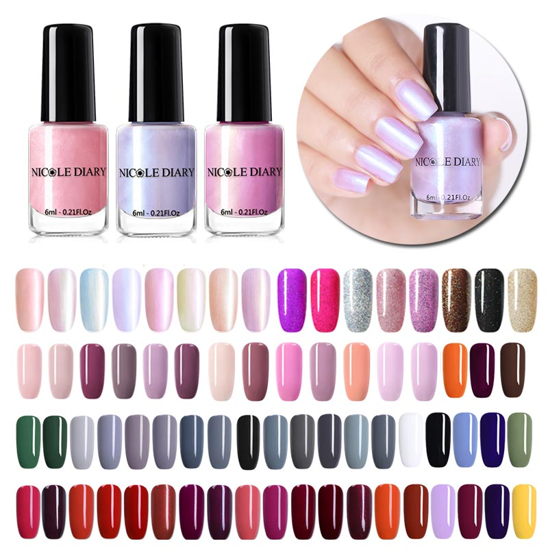 NICOLE DIARY 73 Colors Nail Polish  Red Gray Glitter Pearl Nail Art Varnish Water-based  Nail Art Varnish 6ml